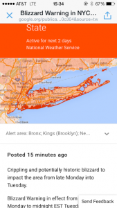 Weather warning for blizzard juno
