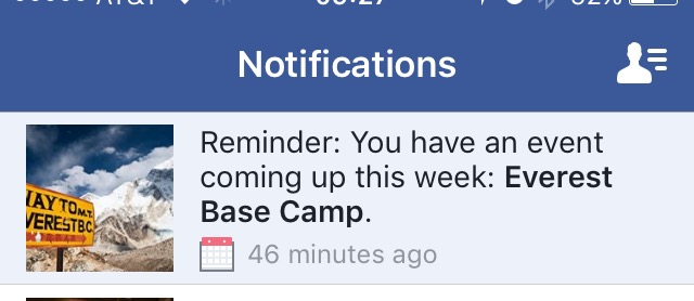 Facebook notification Everest base camp