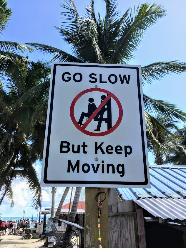 Road signs saying go slow
