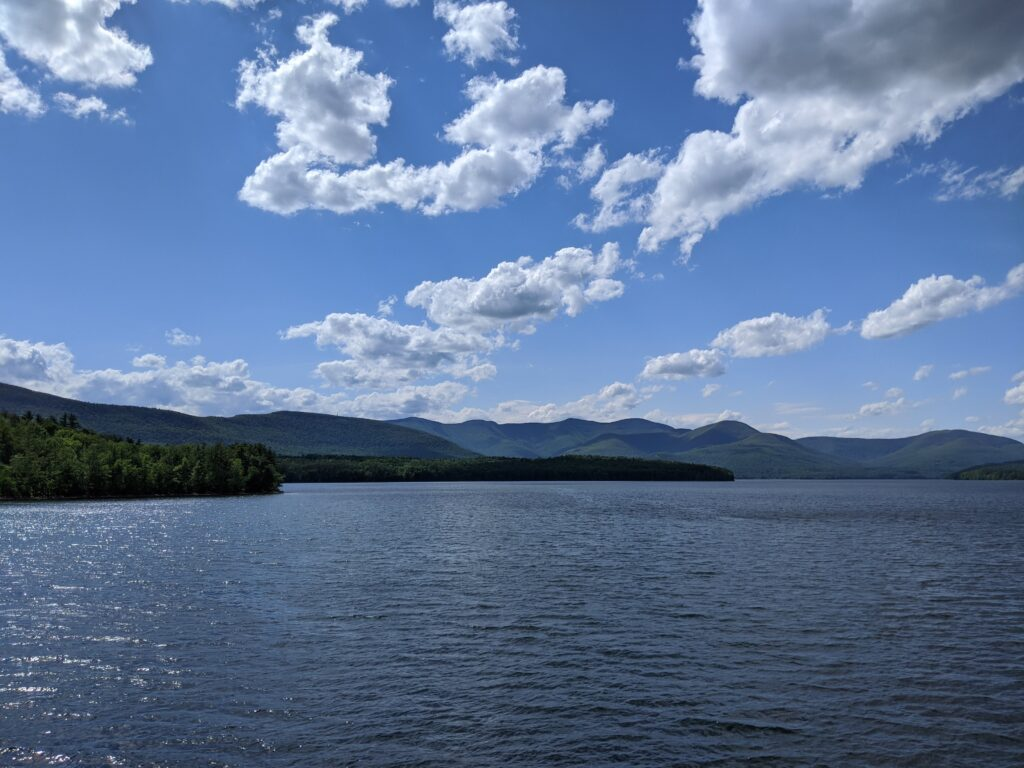 Ashokan Reservoir with catskills mountains as a backdrop